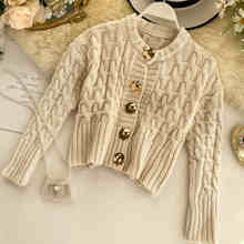 NiceMix Women Clothes 2019 Autumn and Winter Clothes Women Round Neck Metal Buckle Cardigan Women Sweater Women Casaco Feminino(China)