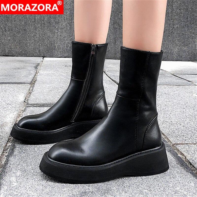 MORAZORA 2020 Top Quality Genuine Leather Ankle Boots Women Round Toe Flat Platform Boots Fashion Autumn Punk Shoes Ladies