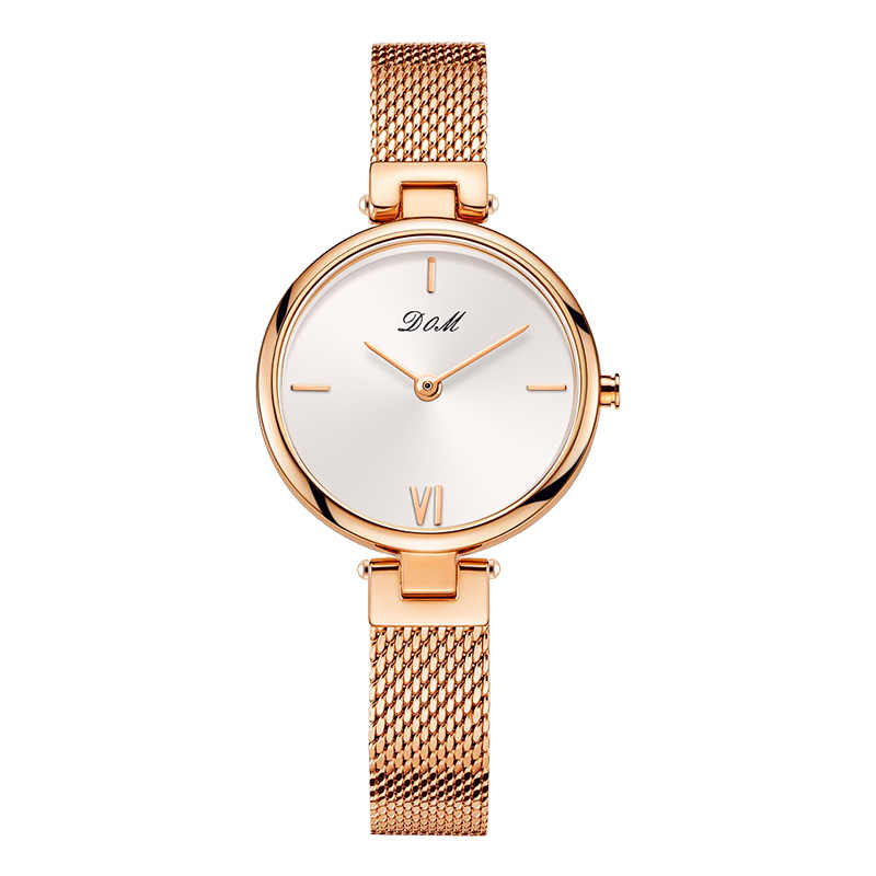 DOM Brand Luxury Women Quartz Watches Minimalism Fashion Casual Female Wristwatch Waterproof Gold Steel Reloj Mujer G-1267G-7M2