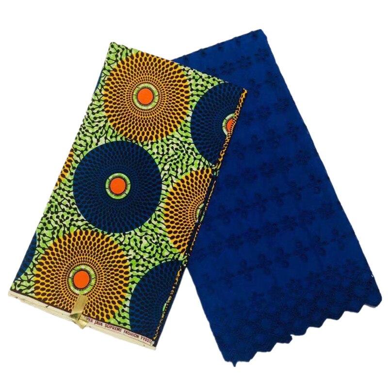 2019 nouveau Style africain coton cire néerlandais cire tissu 3Yards + bleu brodé suisse Voile dentelle tissus évider conception 2.5Yards