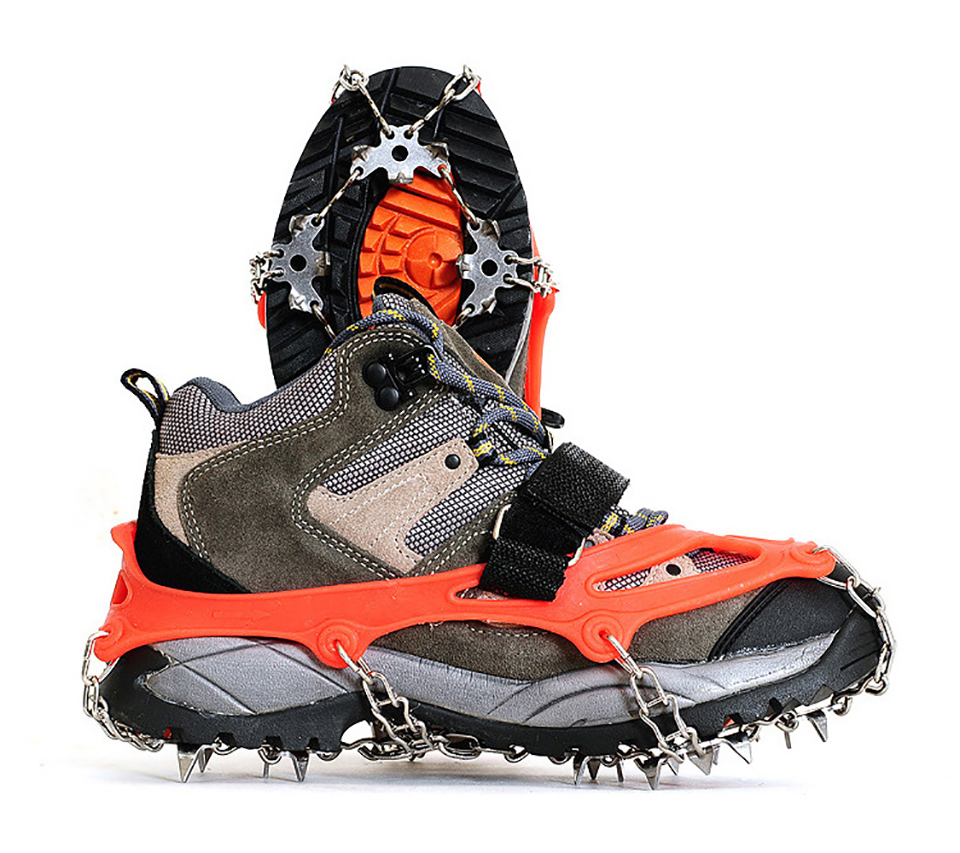 18 Teeth Ice Fishing Snowshoes Manganese Steel Slip Shoe Covers Quality Outdoor Climbing Antiskid Crampons Winter Walk