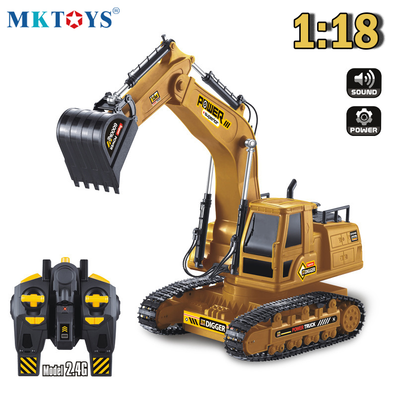 1:18 RC Truck RC Excavator Tractor Model Engineering Car 2.4G Radio 680 Rotation Digging Soil Sound Effects Kids Toy