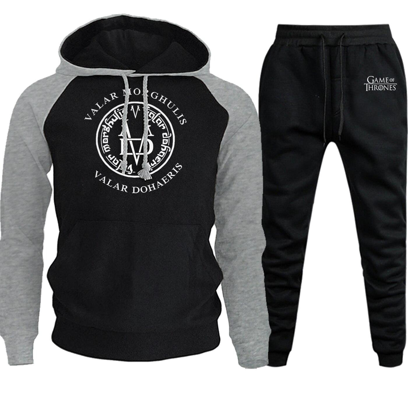 Autumn Winter 2019 Game Of Thrones Valar Morghulis Valar Dohaeris Streetwear Raglan Men Hoodie Fleece Pullover+Pants 2 Piece Set