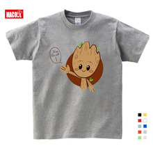Boy Summer Short Sleeve Cotton Cartoon Tee Tops Clothes Children Groot Print T-shirt Girl T-shirt Baby T Shirts Free Shipping shintimes hole print 6 cartoon t shirt women tshirt one size 2019 tops summer short sleeve female t shirt cotton tee shirt femme