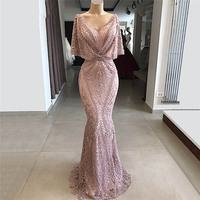 New Arabic Dubai Couture Muslim Evening Dresses Lace Beaded Mermaid Party Gowns On Sale Vestido De Festa Islamic Formal Dress