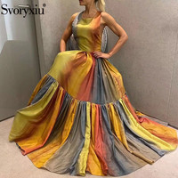 Svoryxiu 2020 Summer Runway Sexy Party Backless Long Dresses Women's Fashion Square Collar Colorful Print Cotton Dress Vestdios