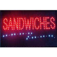 Sandwiches Pizza Led Open Bussiness Neon Signs Sized 10*19 Inch Super Brightly Flashing Sandwiches Pizza Food Store Sign Led