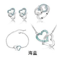 Fine JewelryQiLeSen Women's Fashion 925 Sterling Silver Jewelry, Austrian Aquamarine Crystal Wedding Heart Heart Set S046