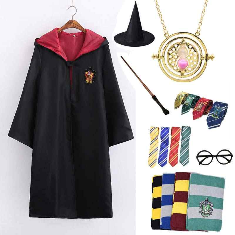 Cosplay Gryffindor Costume Potter Necklace Hermione School Uniform Ravenclaw Hufflepuff Slytherin Robe Scarf Haloween Costumes