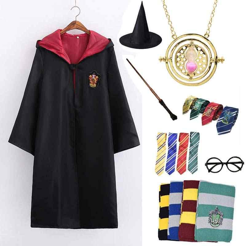 Cosplay Gryffindor Kostum Potter Kalung Hermione Seragam Sekolah Ravenclaw Hufflepuff Slytherin Jubah Syal Haloween Kostum