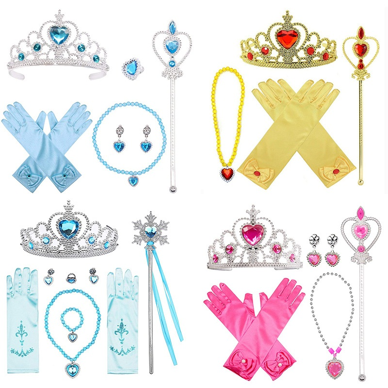 4 5 6 7pcs/lot Girls Elsa Dress Up Frozen Accessories Crown Necklace Ring Earring Wand Gloves Kids Jewelry Princess Toys Girls