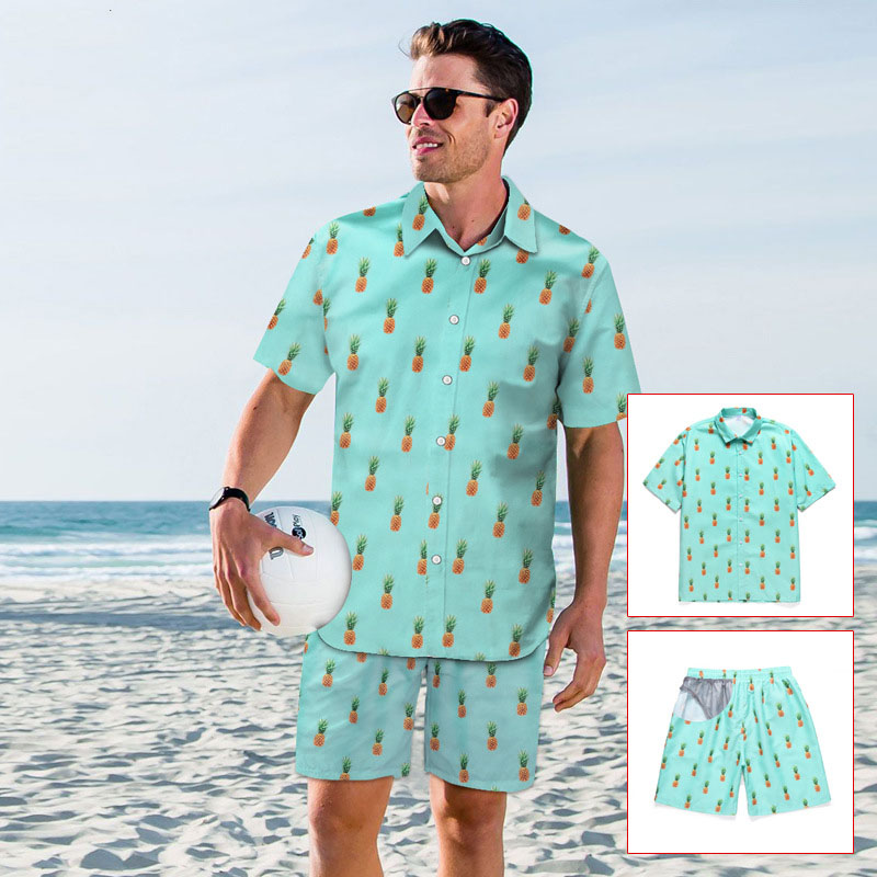2020 Holiday Hawaiian shirt Men New Fashion Casual Beach Seaside Summer Shirts For Men Fruit Pineapple Print Blouse Top Clothes 2