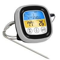 Ev ve Bahçe'ten Sıcaklık Göstergeleri'de Gıda Pişirme Bluetooth Kablosuz BARBEKÜ Termometre Altı Probları ve Için Zamanlayıcı Fırın Et Izgara Ücretsiz App Kontrolü Dropshipping