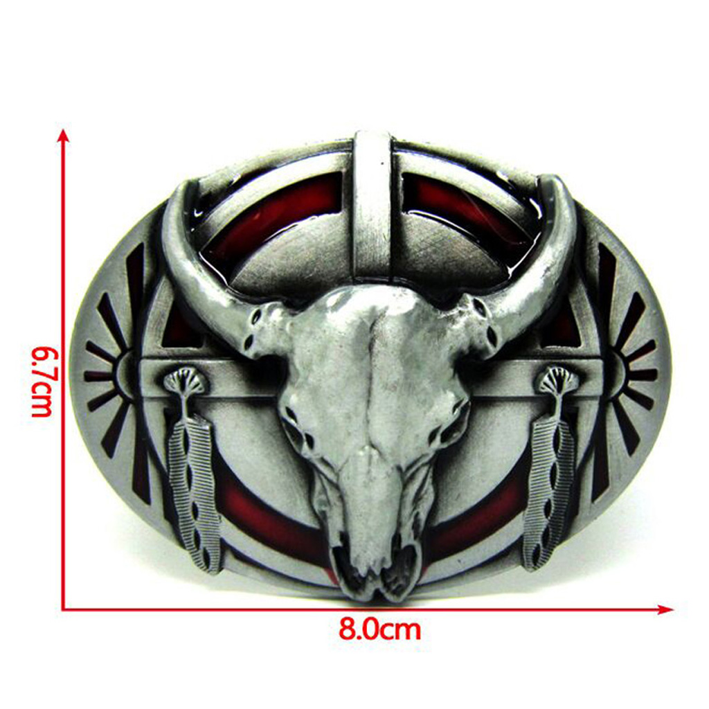 Longhorn Belt Buckle Vintage Western Bull Buffalo Men Casual Silver Oval Belt Buckle