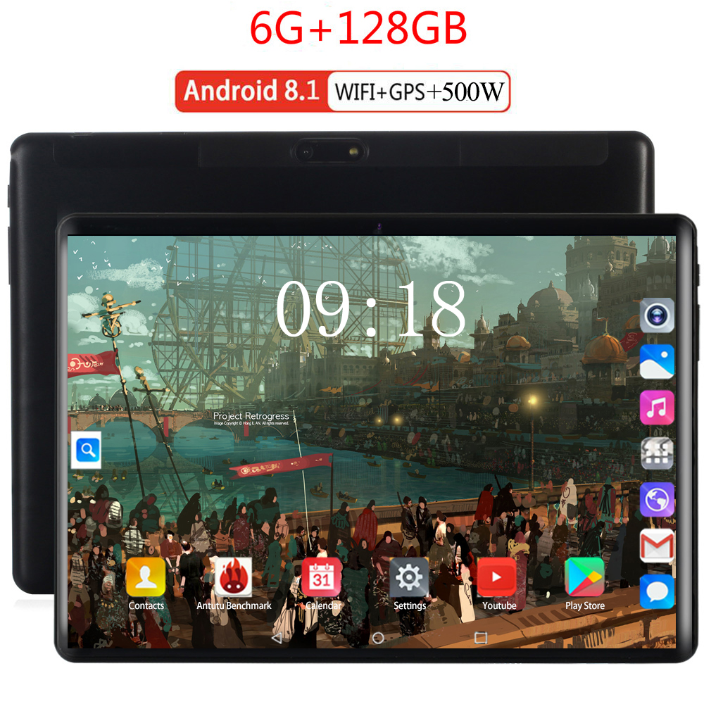 2020 Bluetooth Wifi Android 8.0 10.1 Inch Tablet Deca Core 6GB RAM 128GB ROM 2.5D Screen Tablets Pc Tablets For Kids Android