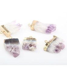 Natürliche Stein Amethysten Anhänger Exquisite zubehör Unregelmäßigen DIY für Halskette oder Schmuck Machen size35 * 20*7mm-40*15*7
