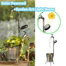 Metal Watering Can Stake With Lights For Garden Art Light Decor Solar Water Faucet Planter Light Lawn Art Outdoor Decor Home#G