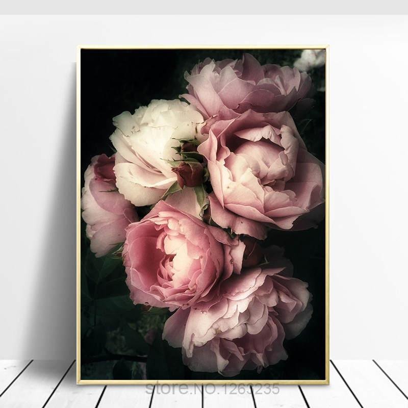 Vintage Poster Flowers Rose Canvas Painting Wall Art Peony Picture Black Art Prints Wall Pictures For Living Room Home Decor