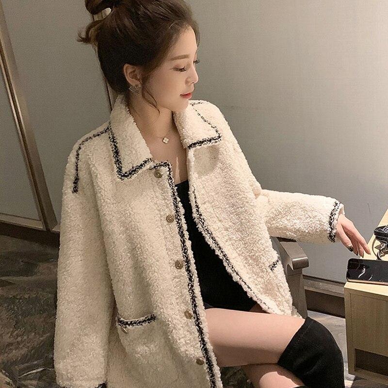 Imitation Lamb Fur Coat Bohemia Women Fragrant Vacation Casual Coat One-piece Autumn/Winter Women's Faux Fur Coat Jacket