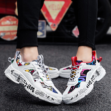 Couple graffiti sneakers classic vulcanized shoes non-slip lightweight breathabl
