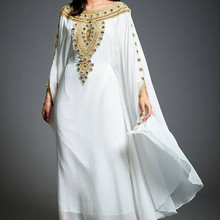 Gown Moroccan Kaftan Prom-Dress Beaded Evening-Dresses Crystals Dubai A-Line Long-Sleeves