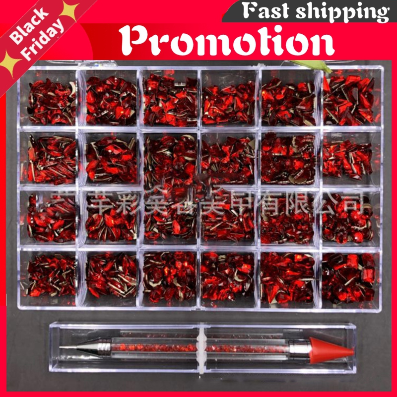 20 Shapes/2000Pcs Multi-size Glass Rhinestone Nail Box AB Color Diamond Nails Art Rhinestones For Crystals Strass Charms Hzb32-2