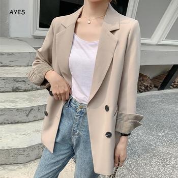 Women Autumn Solid Jacket Suits Double Breasted Blazers Long Sleeve Notched Collar 2020 OL Office Wear Blazer Coat Casual Blazer women long sleeve sequin blazer runway designer double breasted blazers elegant fashion notched collar long jacket blaser femme
