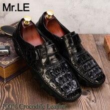 تمساح أحذية الرجال فستان جلد طبيعي جودة عالية العلامة التجارية التصميم الأصلي حفل زفاف الرجال الفاخرة الترفيه حذاء كاجوال