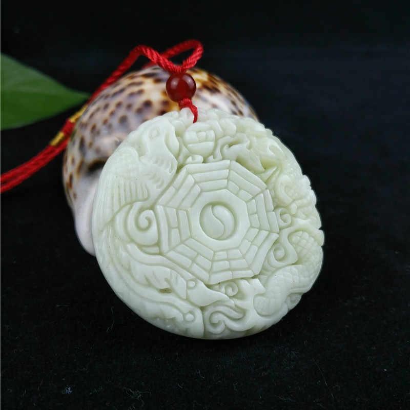 จีนสีขาวธรรมชาติหยกมังกรจี้สร้อยคอแฟชั่น Charm เครื่องประดับแกะสลักของขวัญ Amulet สำหรับผู้หญิงผู้ชาย