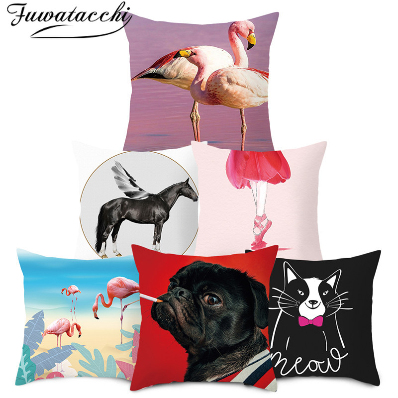 Fuwatacchi Carton Animal Printed Pillow Cover For Chair Decoration Cushion Cover Home Sofa Polyester Throw Pillowcases 45cmX45cm
