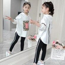 HH ubrania dla dzieci dziewczyny jesień odzież wiosenna zestawy z długim rękawem bawełniane bluzki + spodnie dres Boutique odzież dziecięca strój