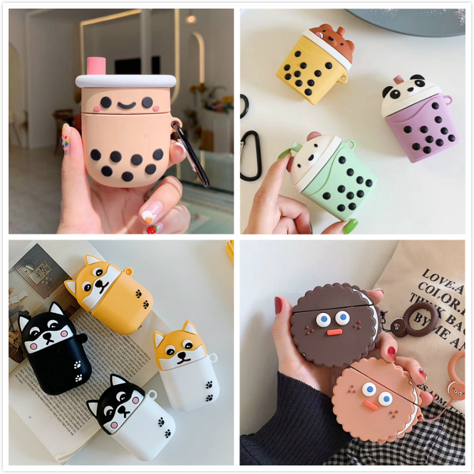 For AirPods Case Cartoon Silicone Cover For Apple Air Pods 2 Cute Earphone Case Earbuds Bag For Earpods Cases Ring Accessoires