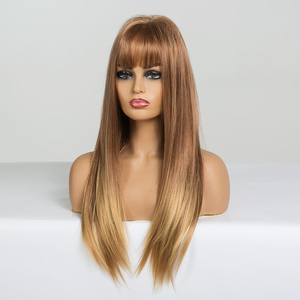 Image 3 - EASIHAIR Long Straight Light Blonde Ombre Wigs with Bangs Synthetic Wigs for Black Women Cosplay Wigs High Temperature Fiber Wig