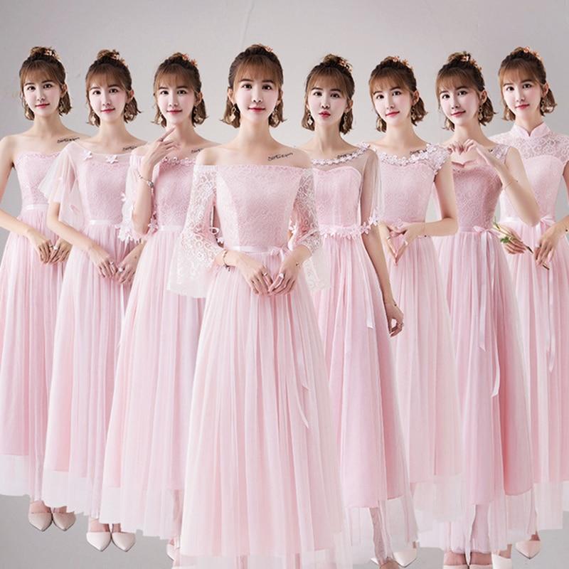 4 Style New  Pink Blush Dress For Women Sexy Chiffon Bridesmaid Dress Backless Wedding Party Dresses Long Gala Gowns Elegant Gra