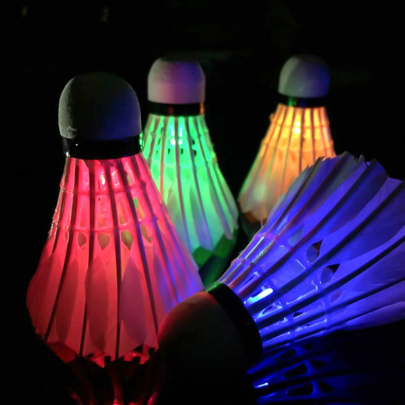 4Pcs/Lot LED Luminous Badminton Dark Night Colored Foam Glowing Shuttlecocks Badminton
