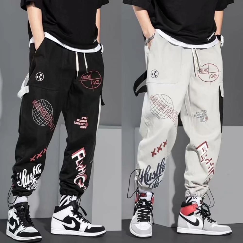 Hip Hop Fashion Pants Japanese Streetwear Pants Graphic High Street Sweatpants Men Spring Long Black Pants Stylish Clothing