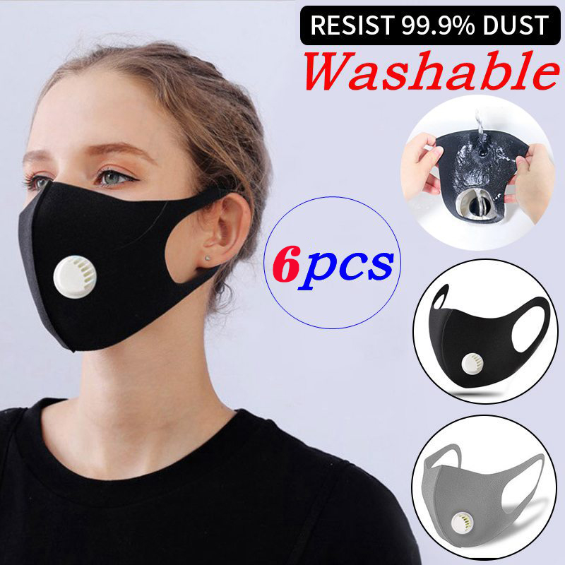 6Pcs Washable Earloop Breathable Reusable Mask Pm2.5 Thicken Respiratory Valve Mask Upgrade Unisex