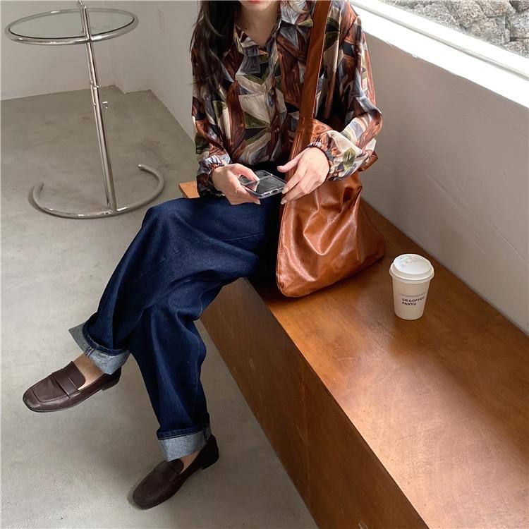 Hd75bd7a614d447a1924182aea30d5eadL - Spring / Autumn Turn-Down Collar Long Sleeves Print Buttons Pocket Blouse