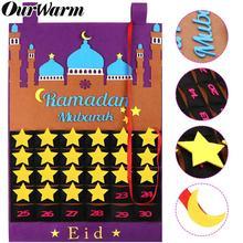 OurWarm Eid Mubarak Countdown Felt DIY Ramadan Calendar for kids with Pocket Castle Calendar Muslim Balram Party Decor Supplies