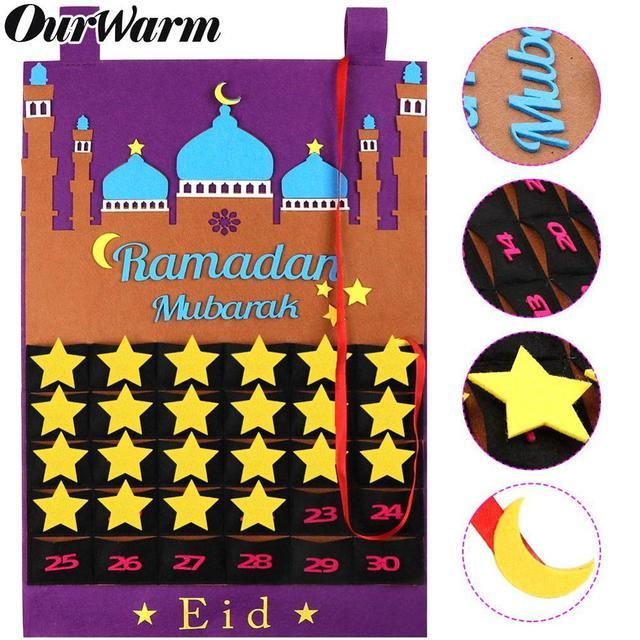 Ourwarm Eid Mubarak Countdown Vilt Diy Ramadan Kalender Voor Kinderen Met Pocket Kasteel Kalender Moslim Balram Party Decor Supplies