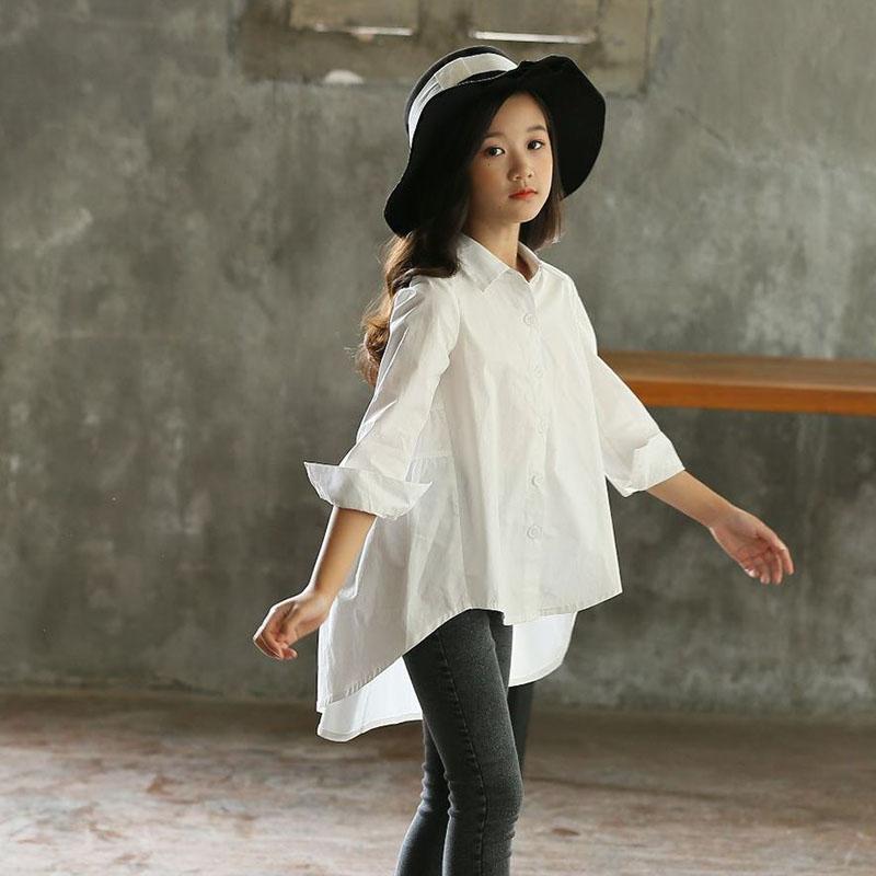 Back To School Clothing Blouses Girl Shirt Long-Sleeve White Yellow Autumn Kids Children's Shirts Girl Blouse Turn Down Collar