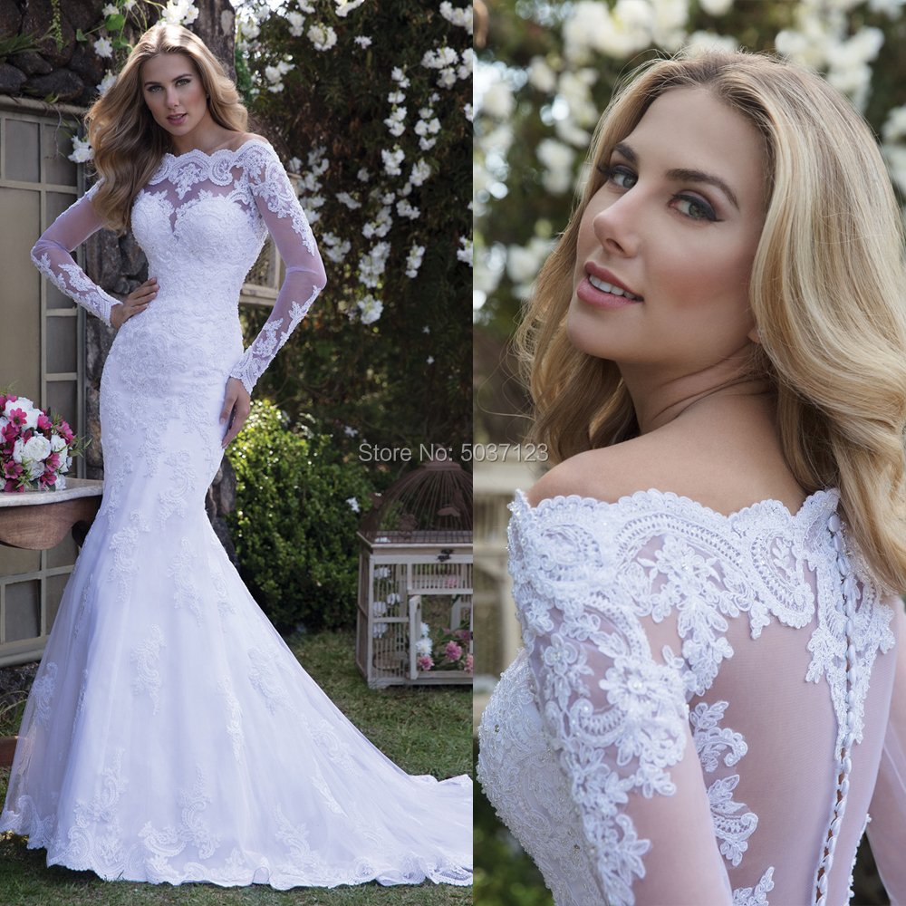 Luxury Long Sleeves Mermaid Wedding Dresses Sexy Off The Shoulder Lace Appliques Button Illusion Bridal Gown Vestidos De Noiva