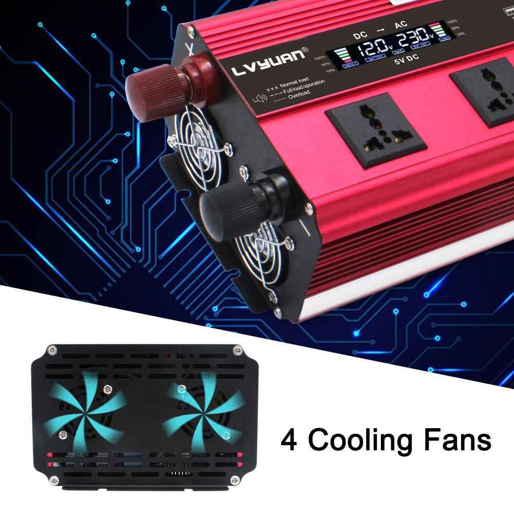 ЖК-дисплей Display10000w инвертор питания DC 12 В AC 220 В обеспечение конвертера солнечной энергии модифицированная Синусоидальная волна 4USB 4 вентилятора