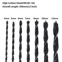 7pcs 4-12mm 300mm(12'') Extra Long Wood Drill Set High Carbon Steel Woodworking Hole Cutter Gun Drill Bit Twist Drill Bit
