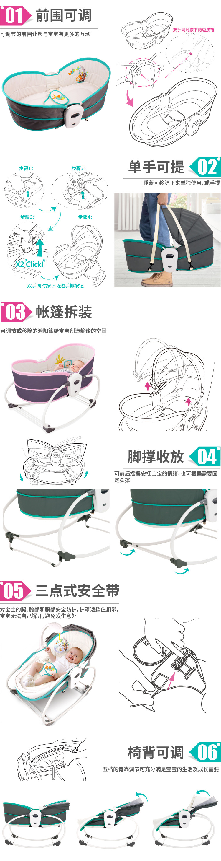 Hd75c085fde2142d0ab40e259c8587686N Baby Furniture Cradle 5 in 1 baby rocking bed Baby Cradle rocking chair baby recliner portable baby basket baby crib babynest