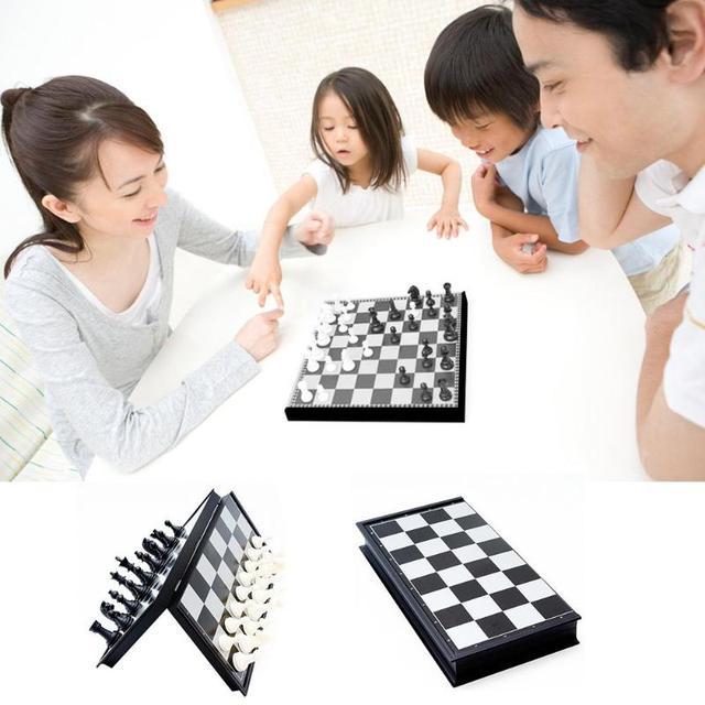 Jeu de dames de Backgammon magnétique d'échecs jeu de société pliable jeu d'échecs pliant International jeu de société Portable d'échecs 6