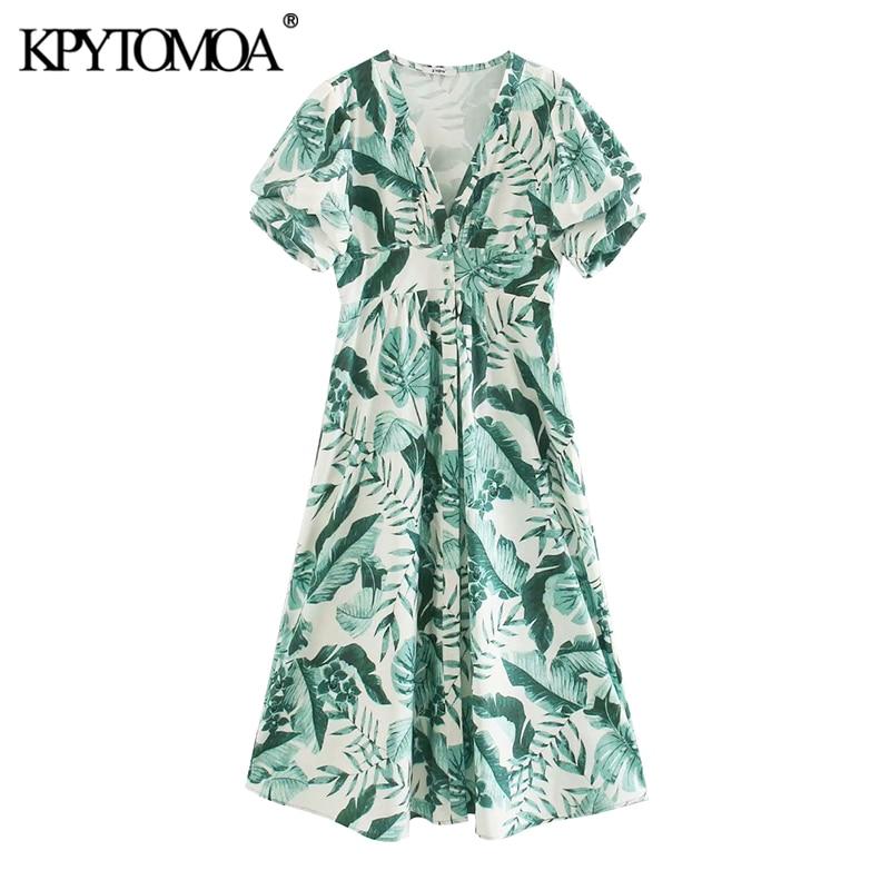 KPYTOMOA Women 2020 Chic Fashion Floral Print Buttoned Midi Dress Vintage V Neck Short Sleeve Side Pockets Female Dresses Mujer