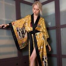 MAISON GABRIELLE Silk Oil Painting Printed Kimono Robe Dressing Gown Peignoir Sleepwear Nightgown Home Suit For Women Loungewear
