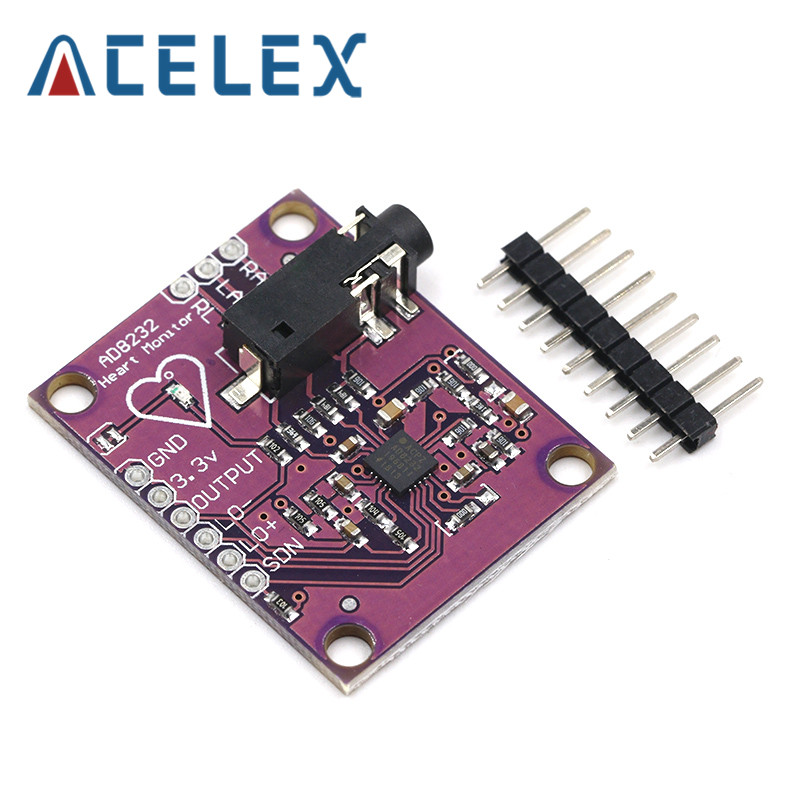<font><b>AD8232</b></font> <font><b>ECG</b></font> Physiological Measurement Heart Pulse <font><b>ECG</b></font> Monitor <font><b>Sensor</b></font> Module Single Lead Heart Rate Monitor Diy Kit for Arduino image