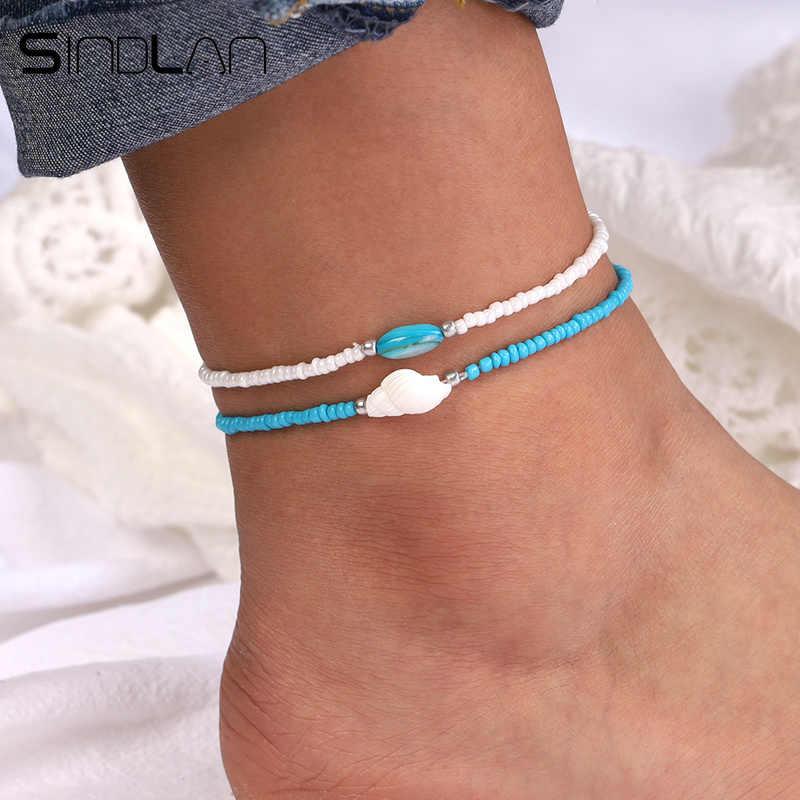 Sindlan ayarlanabilir mavi beyaz boncuk halhal kadınlar için doğal kabuk kabuklu bacak ayak bilezik Bohemian sandalet ayak bileği zincir bileklik